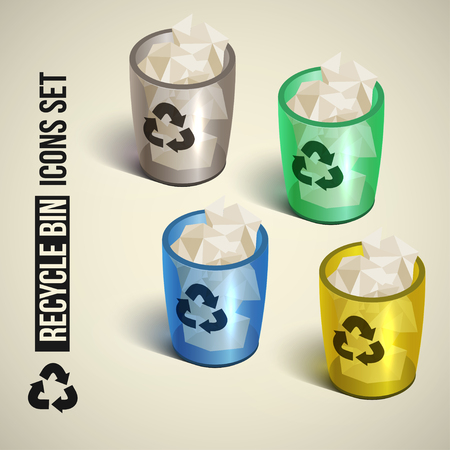 realistic recycle bin icons set. Vector illustration. Vector