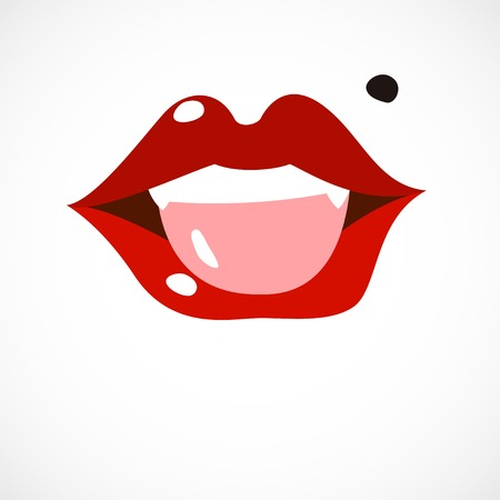 show me your tongue, cartoon flat style vector illustration Vector