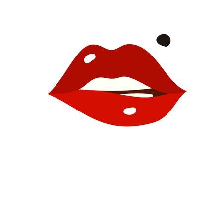 セクシーな唇、漫画フラット スタイルのベクトル図