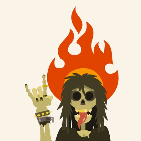 heavy: heavy metal skeleton character with long hair, sticking his tongue out and heavy metal symbol sign of the horns with fire flame, cartoon flat style vector illustration.