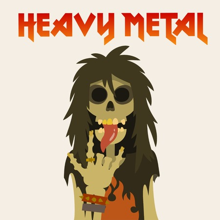 heavy: skeleton with long hair, sticking his tongue out and heavy metal symbol sign of the horns, cartoon flat style vector illustration. Illustration