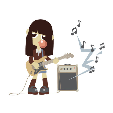 bubble gum: Japanese rock star girl playing on guitar and do bubble gum bubble, isolated vector illustration. Illustration