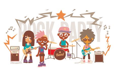 cartoon characters rock band show, vector illustration. Иллюстрация