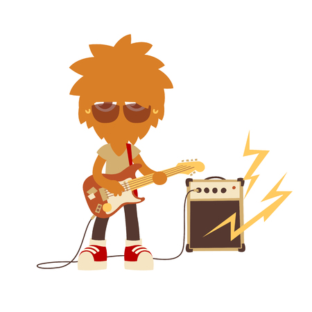 shaggy musician man playing on a guitar, cartoon style character, isolated vector illustration.