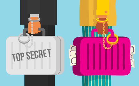 top secret: Two people talking about a good deal, top secret deal, cartoon flat style vector illustration.