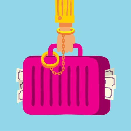handcuffed: suitcase with money handcuffed to a mafia businessman hand