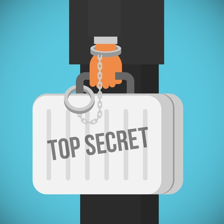 company secrets: hand with handcuff and a suitcase with top secret sign, cartoon flat style vector illustration