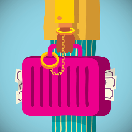 handcuff: hand with golden handcuff and a suitcase, cartoon flat style vector illustration