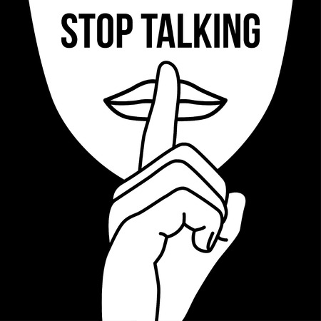 no talking: stop talking, finger on a mouth, isolated vector illustration on a black background