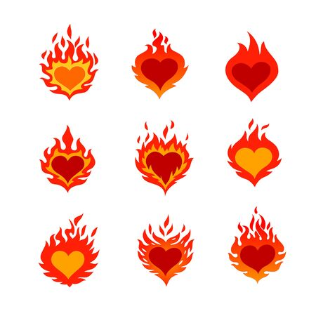 Burning heart icons set for St. Valentines Day. vector graphic illustrations logos, isolated on white background.