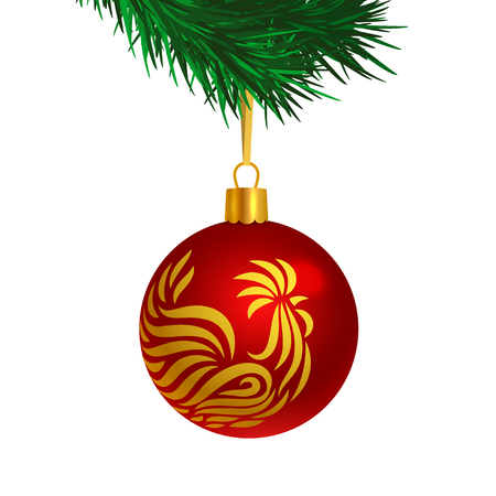 Red color Christmas tree ball with rooster logo on brunches, isolated on white color background, vector illustration.