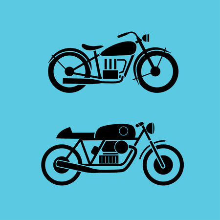 isolaten: retro motorcycle icons set, isolaten on a blue color background