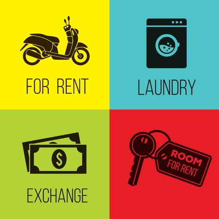 laundry room: bike for rent, laundry, money exchange and room for rent, vector icons set.