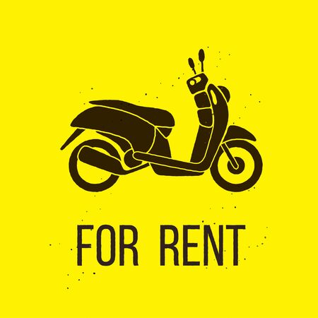 rent: Motorbike For Rent icon, isolated vector illustration