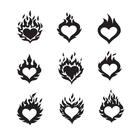 jealousy: flame hearts icons, black color silhouette, isolated on white background, vector illustration logos set