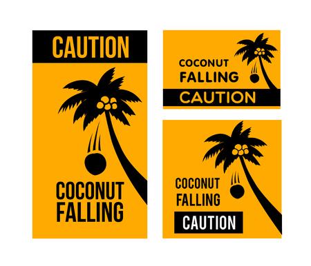 落ちてくるココナッツ注意  イラスト・ベクター素材