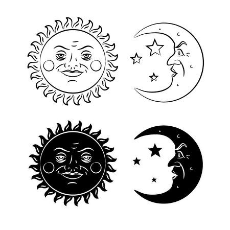 빈티지 손으로 그려진 태양과 달