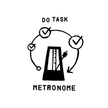 metronome: metronome and task icon, hand drawn vector illustration logo