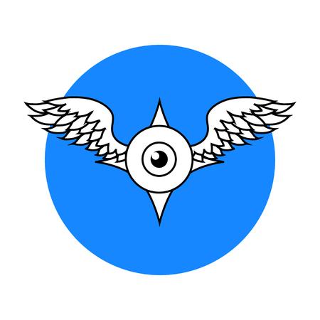 Winged Eyeball logo, isolated vector illustration art Illustration