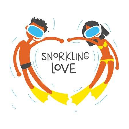 snorkeling: we love snorkeling, cartoon flat vector illustration. Stock Photo