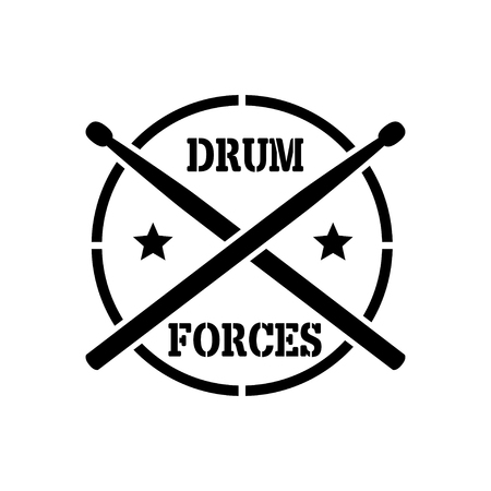 school kit: crosed Drum sticks with word drummer forces, vector stencil Stock Photo