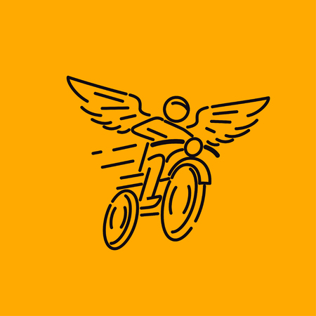 speed car: motorcycle rider with wings, vector illustration logo.