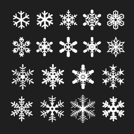 snowflake icons set, vector illustration isolated on black background.
