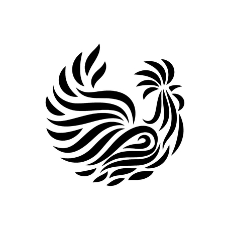 Fire Rooster, decorative symbol of chinese new year, vector illustration Фото со стока