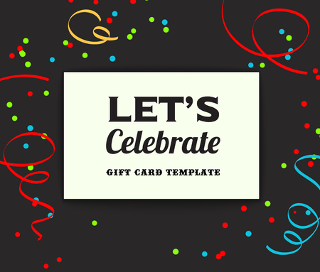 holiday invitation: Holiday background. Invitation card serpentine and confetti,