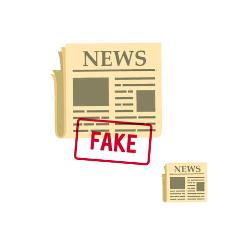 tabloid: flat newspaper icon with fake stamp, vector illustration