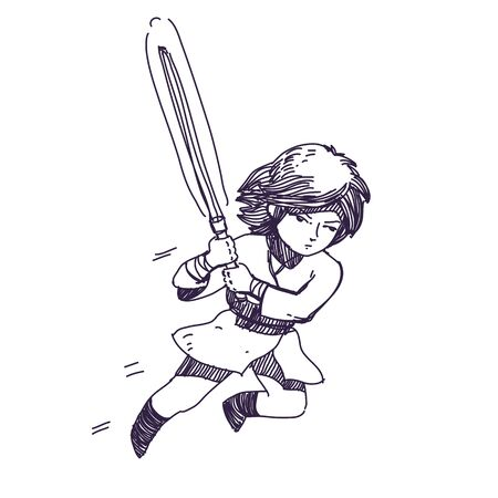 combatant: hand drawn, jumping warrior character with fire sword Illustration
