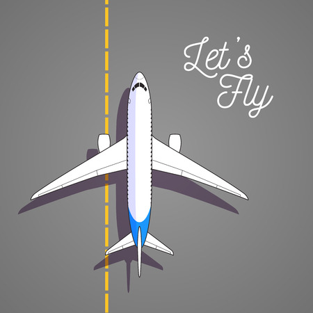 Vector airplane top view icon on runway