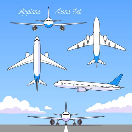 Vector airplane, all views, Icons set