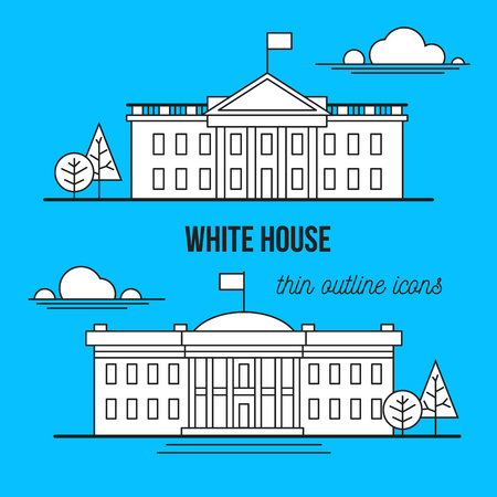 district of columbia: white house. thin outline style icons,
