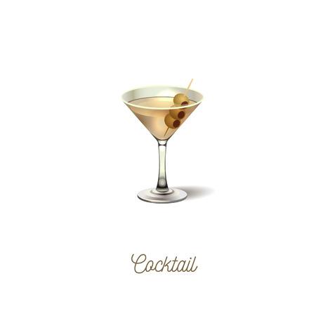 Icona di vetro Martini, con oliva