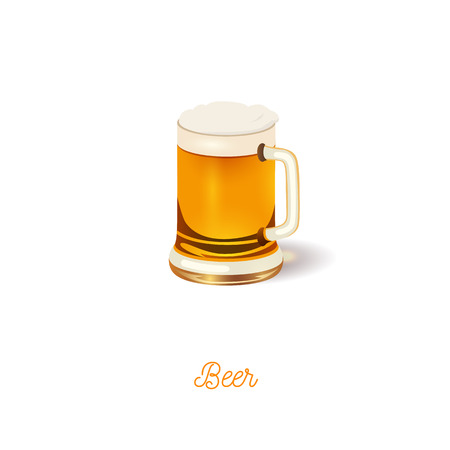 beer stein: Glass of beer icon. Realistic vector illustration Illustration