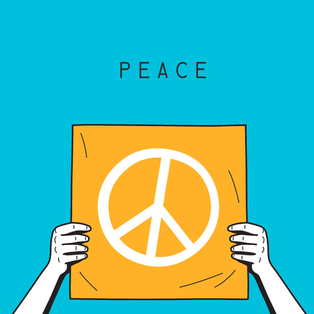 hands holding piece of paper with peace symbol Illustration