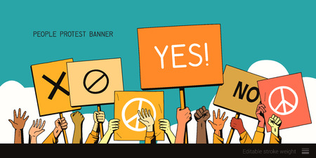 people protest hands with banners. vector illustration Illustration