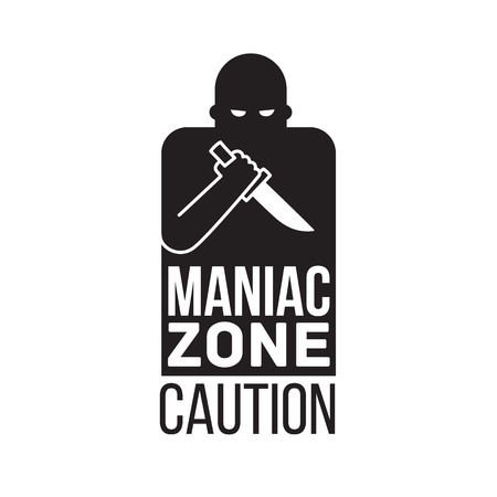 maniac: Maniac man with a knife, Thief criminal person. simple isolated vector icon.
