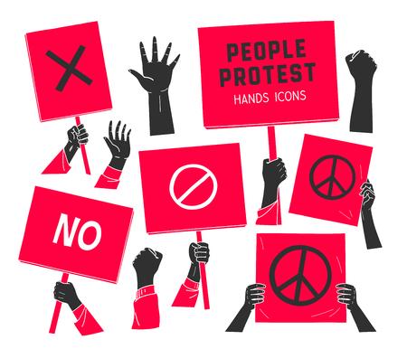 Protest, Leute Hände mit Bannern