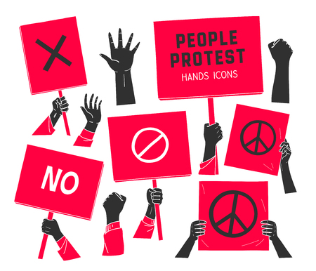protest, people hands with banners Illustration