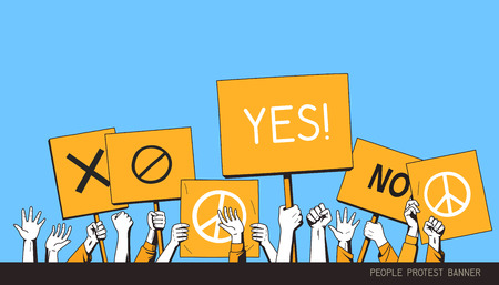 people protest banner. isolated vector illustration poster