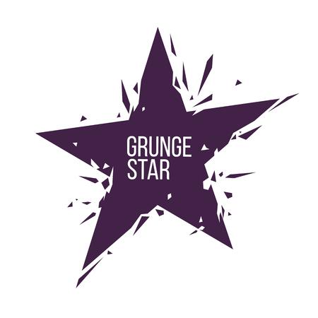 grunge crashed star logo