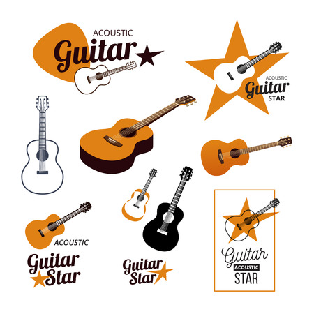 acoustic: Acoustic guitar icons, music illustration.
