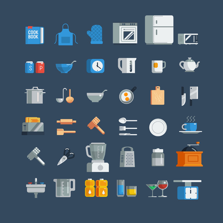 주방 용품 아이콘 설정, 만화 플랫 스타일 벡터 격리 된 삽화.