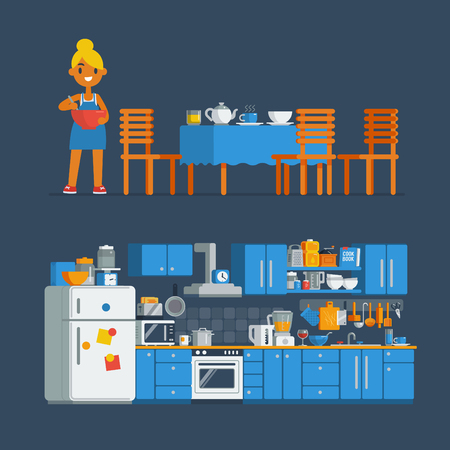 housewife chef make a cook in a kitchen, isolated vector flat art cartoon kitchen interior illustration design.