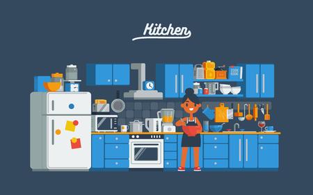 주방에서 요리하는 주부 벡터 플랫 아트 만화 스타일 문자 그림입니다.