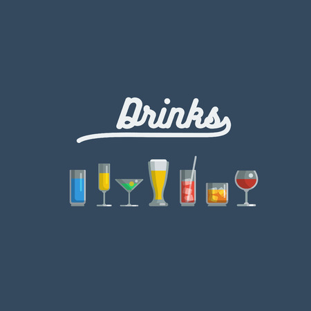 glass of various drinks and cocktails, isolated vector illustrations icons set. Иллюстрация