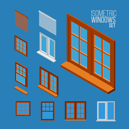 isometric windows set, vector illustration.