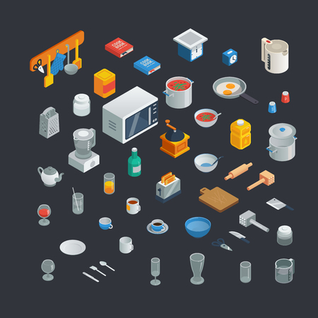 kitchen utensils isometric icons